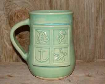 Green Celadon Sea Theme Mug