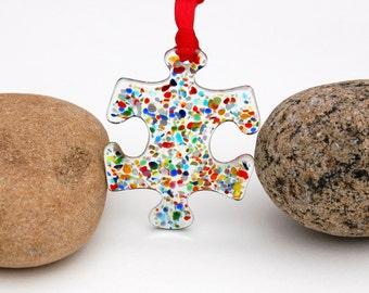 Fused Glass Puzzle Piece Suncatcher - Ornament, Autism Awareness Ornament