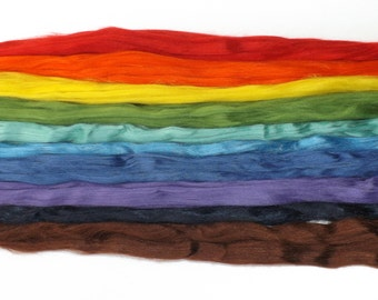Rainbow Tussah - sample pack - mini silk - 10 x 5g - Rainbow selection