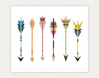 Colorful Arrows - Poster Print - Art Giclee Collage Print Illustration