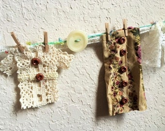 Laundry Line Garland With Handmade Clothes And Vintage Buttons