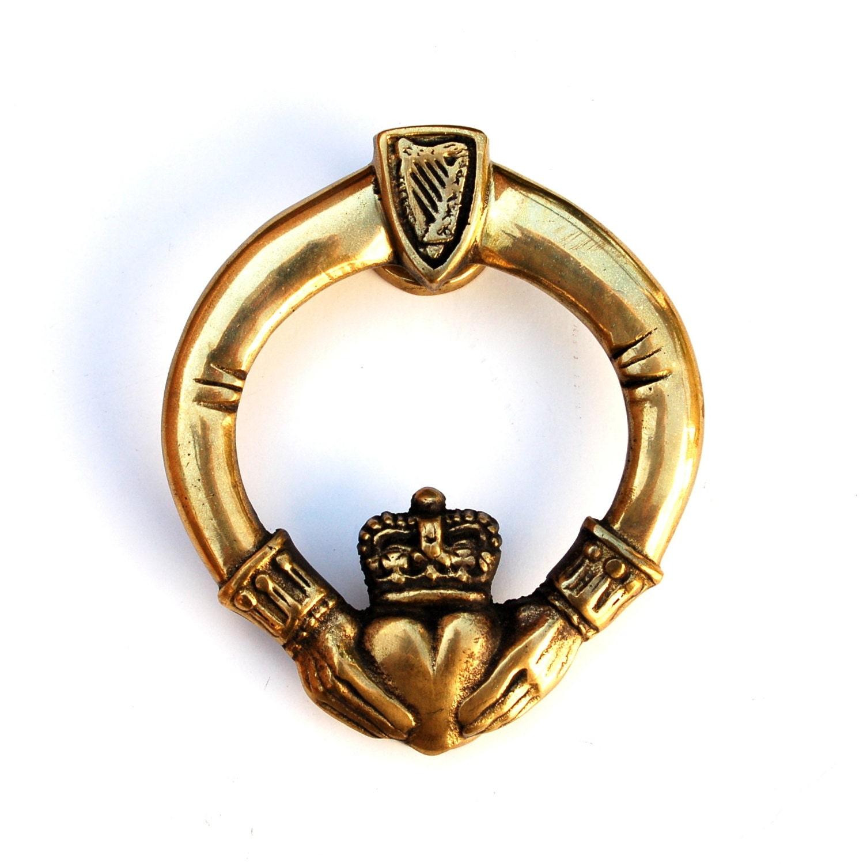 Antique Claddagh Ring Door Knocker Irish Love Brass