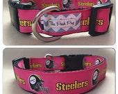 "Handmade Pink Pittsburgh Football Fan 1"" Adjustable Dog Collar"