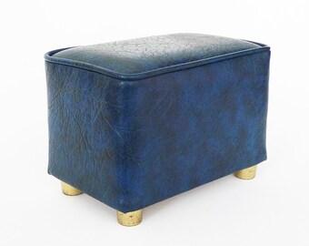 Retro Vinyl Mini Footstool / Royal Blue Brass Ottoman