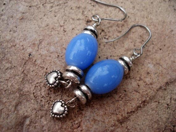 Blue Earrings, Glass Dangle Earrings, Earrings Handmade,  Drop Earrings, Heart Charm Earrings, Women's Hippie Boho Earrings