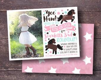 Cowgirl Invitation, Pony Invitation, Pony Party Invitation, Horse Invitation, Pony Party, Horse Party Invitation, Cute Horse Invitation