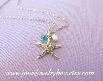 Starfish necklace with pearl and glass bead