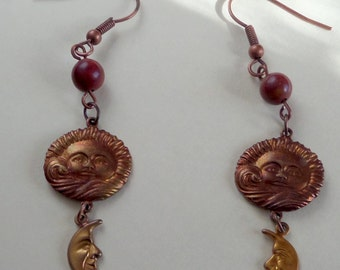 Picasso Jasper Earrings with Patinaed Brass Moon Stampings