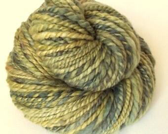 Handspun yarn, Green chunky wool, blue faced leicester yarn, knitting yarn / wool, thick wool bulky yarn