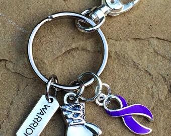 Purple Ribbon Keychain / Boxing Glove Warrior / Cystic Fibrosis / Pancreatic cancer / Lupus / Fibromyalgia / Spoonie