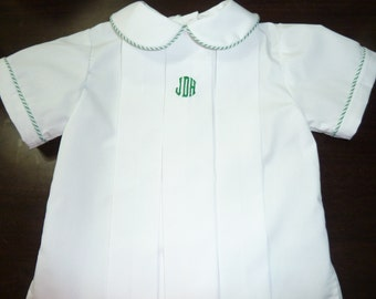 Boy's heirloom classic pleated shirt with monogram