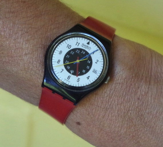Vintage 1984 Swatch Watch Chrono Tech GB403 Red Band