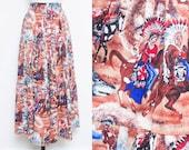 Rodeo Skirt // Native American Skirt // 80s 90s Western Bohemian Prairie Revival Midi Skirt Peasant Novelty Size Small Medium