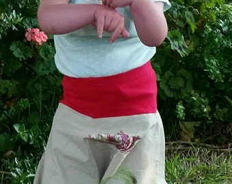 Kids Boho Festival Pants, red/khaki with flowers. Size 18months to 3yrs.