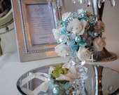 Tiffany Blue and White Rose Bridal/Wedding Bouquet and Buttonhole Set **One Off Design Ready Made & Ready to Ship**