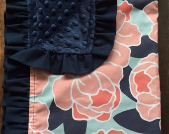 Baby blanket-Peyton's Navy, Aqua and Coral Peony and Lattice Crib Bedding Set, Modern, Girl, Shower Gift, Lavender Linens