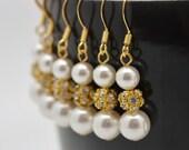 6 Pairs Gold Bridesmaid Earrings, Bridesmaid Gold Earrings, Gold Rhinestone and Pearl Earrings, Pearl and Rhinestone Earrings 0330