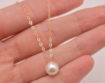 Set of 4 Bridesmaid Gold Necklaces, 4 Gold Pearl Necklaces, Pearl Pendant Necklace in Gold, Single Pearl Gold Necklace 0327