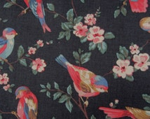 "Cath Kidston Canvas fabric. 1/2m. British Birds on Deep Liquorice Charcoal. Heavy Bag Making, Home-wares Cotton. 142cm wide. (19"" x 55"")"