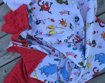 """Dr Suess minky blanket 40x36"""""""