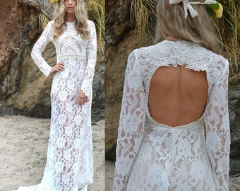 Sheer Lace Back Cut Out Hippie Boho WEDDING Maxi Dress With Mini Train