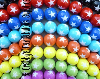 20mm Resin Round Gumball Beads with White Stars -  Chunky Necklaces - Set of 18 - 4th of July, Patriotic - CHOICE of 9 colors