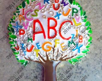 Alphabet Tree Pendant - Enameled -  Chunky Necklaces - 60mm x 45mm Back To School Pendant