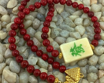 Vintage Mahjong Tile Necklace with Cherry Red Coral Beads