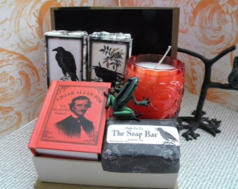 Edgar Allen Poe gift basket Soap and Candle/ Gothic Beauty gift / Raven Theme gift / Book Basket/ Halloween gift basket