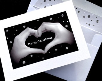 MERRY CHRISTMAS Heart Hands Sign Language Card - Black & White Photograph - Snowflake Design - Individual Greeting Cards and Boxed Sets