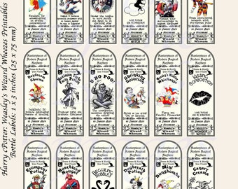 Harry Potter Potions, Weasley's Wizard Wheezes, BOTTLE LABELS (1x3 Inches, 25x75 mm)
