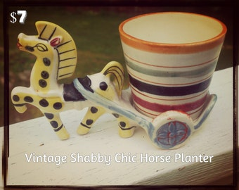 Vintage Shabby Chic Colorful Horse Planter 70's