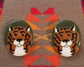 Hand-painted Ceramic Tiger Earrings