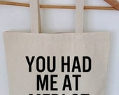 You Had Me At Merlot Tote Bag, Pocket Tote, Tote with pocket, Purse, Vegan, Vegan Bag, Canvas Bag, Animal Rights
