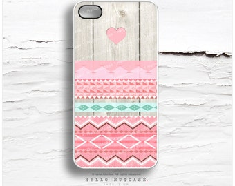 iPhone 6S Case, iPhone 5C Case Wood Print, iPhone 5s Case Chevron, iPhone 6 Case, Geometric iPhone Case, Pink Tribal iPhone 6S Plus Case I46