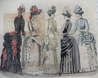 1885 Fold Out Fashion Plate From Peterson's Magazine Les Modes Parisiennes