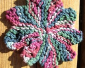 Hand Knit Cotton Washcloth, Flower Shaped Scrubby Mini Size Purple, Teal, Maroon