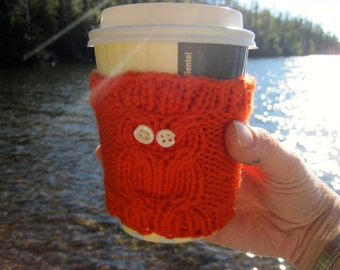 Orange Owl Cup Cozy: Reuseable, Hand Knit Sleeve for Coffee, Tea, Hot Beverages