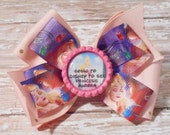 Going to Disney to See Princess Aurora Inspired Glitter Bottlecap Matching Ribbon Bow