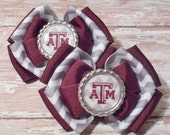 Texas A&M Inspired Glitter Bottlecap Maroon and Grey and White Chevron Ribbon Piggie Bows
