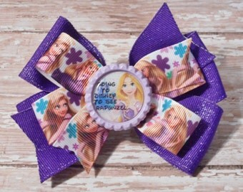 Going to Disney to See Rapunzel Inspired Glitter Bottlecap Matching Ribbon Bow