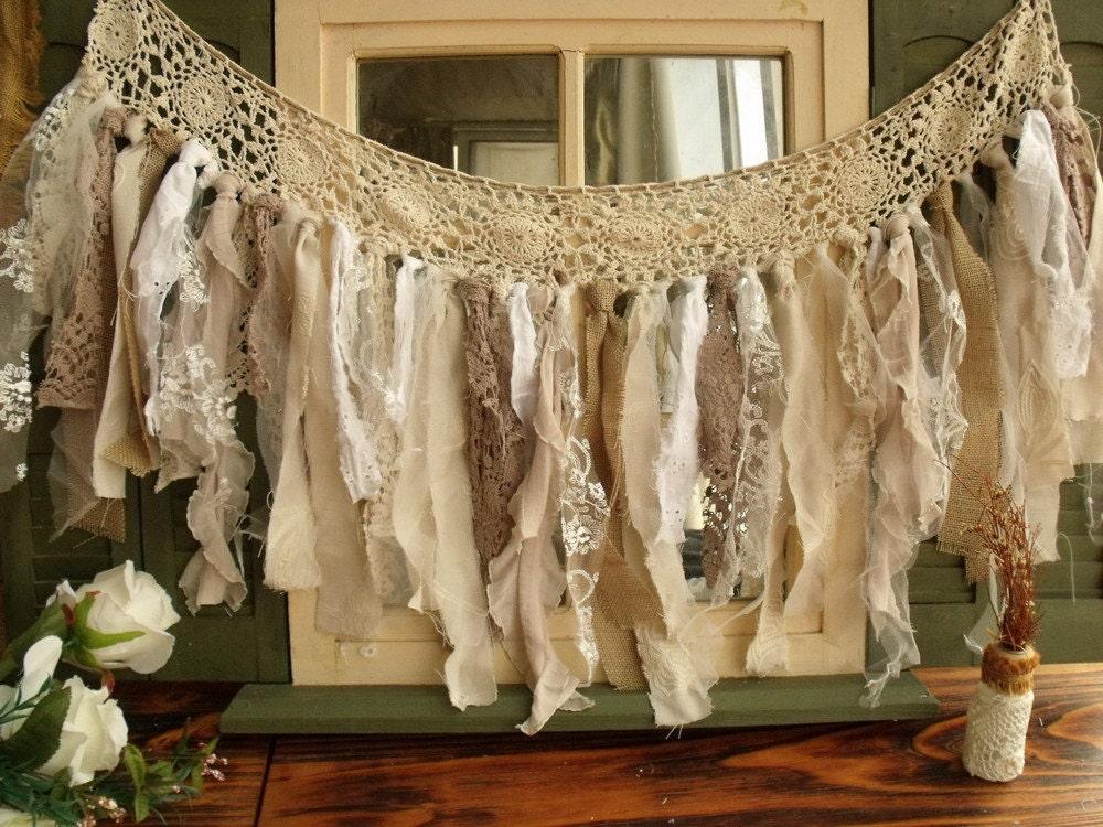 Custom romantic antique lace burlap rag valance fabric garland for Shabby chic garland lights