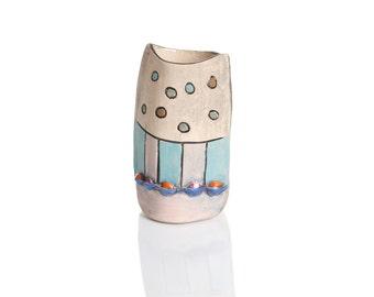 Decorative Vessel, Ceramic art object, Modern ceramic deisgn Colorful Vase, Handmade