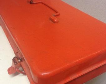 Vintage Orange Metal Tool Box industrial storage