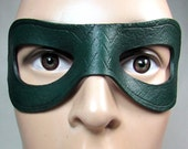 Green Arrow Mask, Arsenal Super Hero Inspired by Oliver Queen of DC's Arrow, handmade in green leather for cosplay or costume