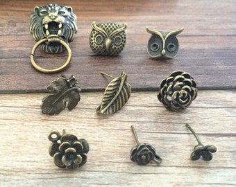 18pieces Mixed Style  Bronze  Earring studs  Flower Earring