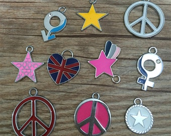 10pieces Mixed Charm  Symbol Charm Star  Charm Pendant