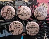 Superman (Super Man) - Upcycled 1970's Vintage Comic Book Button Badge Set.