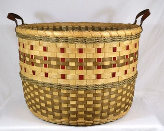 """Handmade Round Toy or Laundry Basket - Hand Woven - """"Valerie"""""""