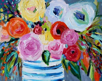 """ON SALE! Floral Still Life, Flowers in Blue and White Ginger Jar Painting, Modern Floral Painting, """"Cleo"""" 16"""" x 20"""""""